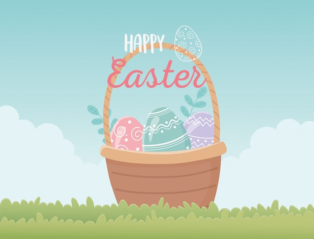 Cesta de páscoa feliz com decoração de ovos na grama