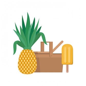 Cesta de piquenique com frutas tropicais em branco