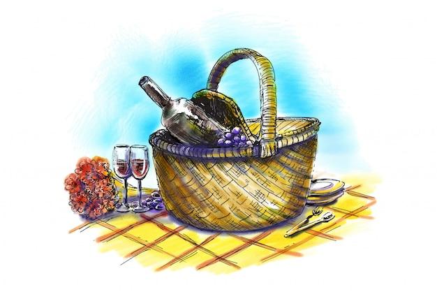 Cesta de piquenique com vinho e taças. mão ilustrações desenhadas
