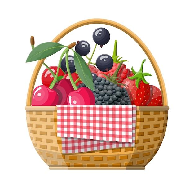 Cesta de piquenique de vime com ilustração de frutas vermelhas