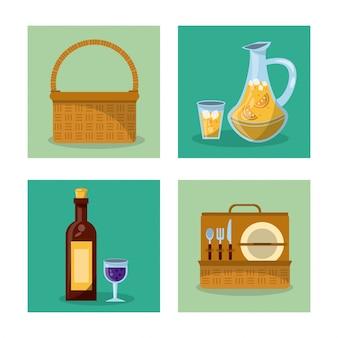Cesta de piquenique e garrafa de vinho e conjunto de talheres e jar de suco