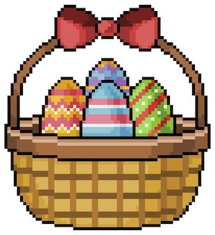 Cesta de pixel art com item de jogo de bits de ovo de páscoa em fundo branco
