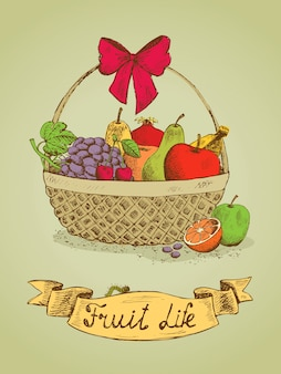 Cesta de presente de frutas com emblema de arco