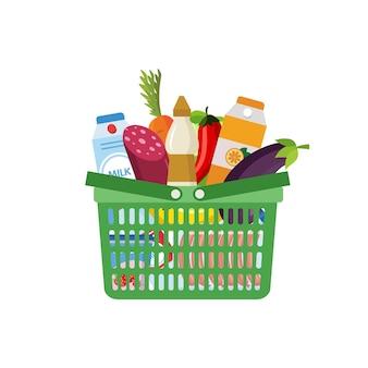Cesta de supermercado cheia de produtos de mercearia