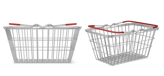 Cesta de supermercado de metal realista