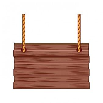Cesta de vime ao quadrado com alças de corda isolado