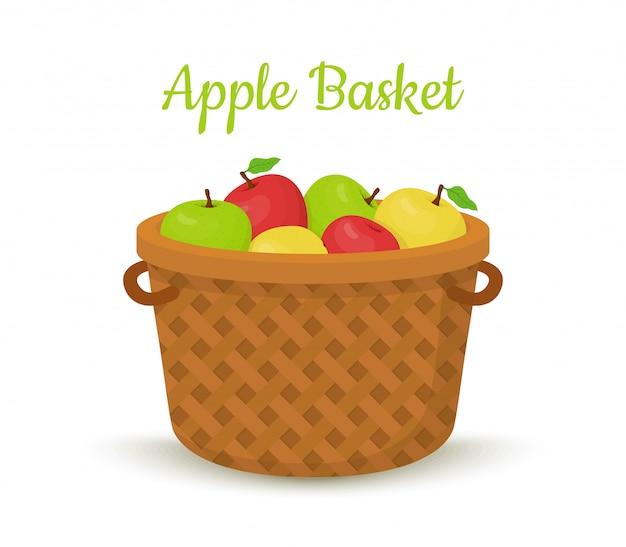 Cesta de vime com maçãs. frutas brilhantes