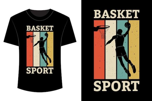 Cesta esporte t-shirt design vintage retro
