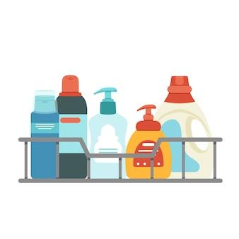 Cesta para limpeza com detergentes e desinfetantes