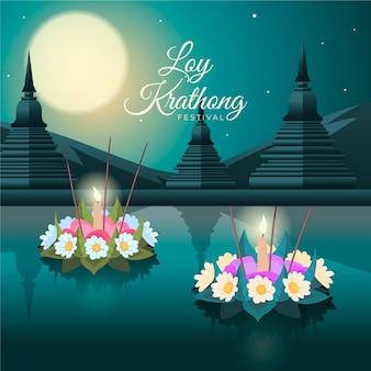 Cestas de design plano loy krathong decoradas
