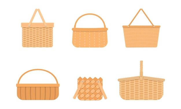 Cestas de piquenique de vime vazias coleção de diferentes cestos e cestos de salgueiro tecidos à mão
