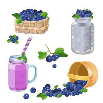 Cestas de whicker de madeira com mirtilos, smoozie de billberry em copo de vidro, bagas em frasco conjunto de ilustração vetorial realista isolado no fundo branco