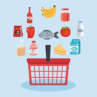 Cesto de compras com produtos de supermercado