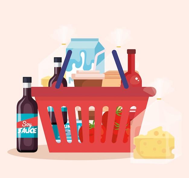 Cesto de compras com produtos
