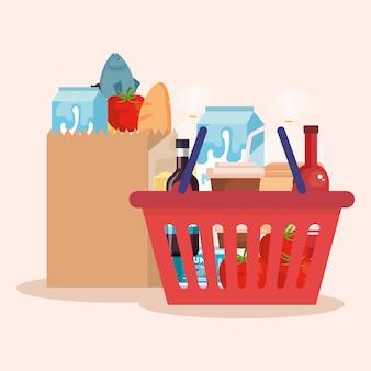 Cesto de compras e bolsa com produtos