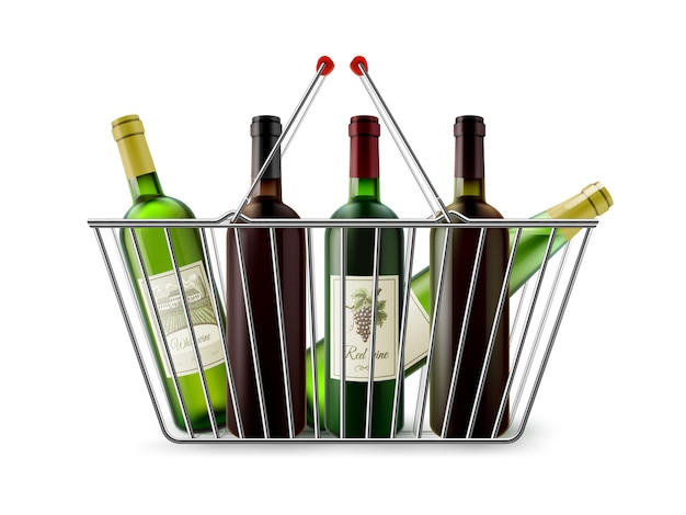 Cesto de compras metálico com pictograma de vinho