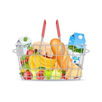 Cesto de compras metálico com produtos