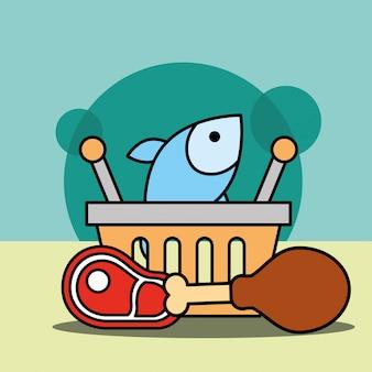Cesto de compras peixe frango e carne