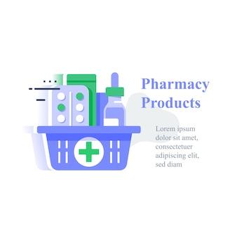 Cesto de farmácia completo, pedido de medicamento, entrega de compra