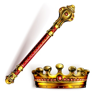 Cetro e coroa dourados para rei ou rainha, bastão real e coroa com gemas vermelhas para monarca. símbolos do imperador da monarquia de ouro, touca de coroação imperial, bastão ou maça, ilustração em vetor 3d realista