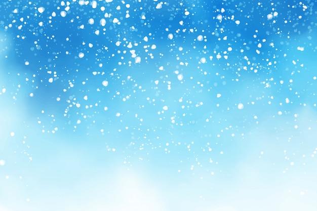 Céu azul aquarela inverno com neve caindo flocos ilustração digital pintura de fundo