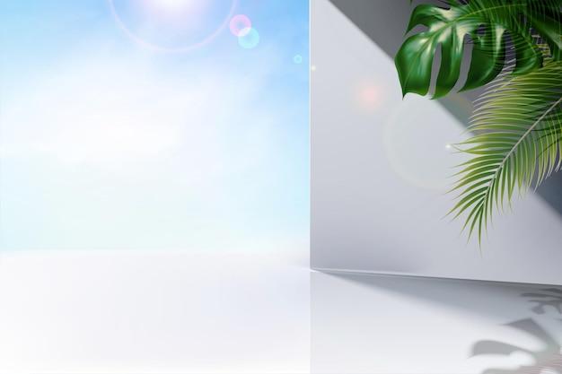 Céu azul claro de verão e fundo de parede branco com folhas tropicais na ilustração 3d