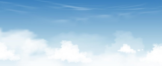 Céu azul com fundo de nuvens altostratus, céu dos desenhos animados de vetor com nuvens cirrus, conceito todo banner de horizonte sazonal em dia ensolarado de primavera e verão pela manhã. horizonte de ilustração vetorial