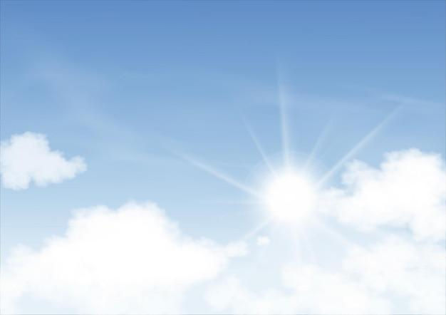 Céu azul com o sol brilhando e fundo de nuvens altostratus, céu dos desenhos animados do vetor com nuvens cirros, conceito todo banner de horizonte sazonal em dia ensolarado de primavera e verão pela manhã. ilustração vetorial