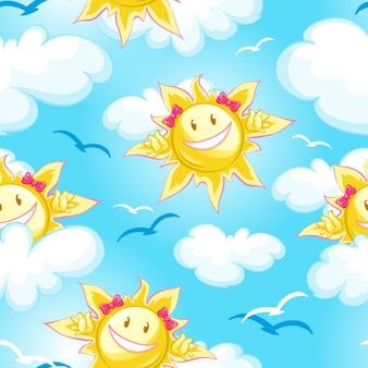 Céu azul de padrão de verão, nuvens e sol dos desenhos animados