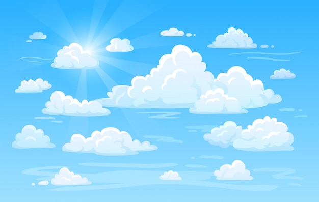 Céu azul do ar limpo com panorama das nuvens. ilustração em vetor fundo nuvem