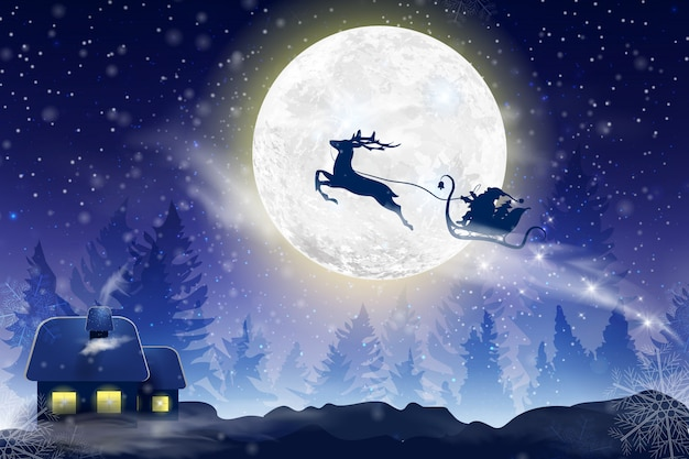 Céu azul do inverno com queda de neve, flocos de neve com uma paisagem de inverno com lua cheia. papai noel voando em um trenó com um cervo. fundo de inverno festivo para o natal e ano novo.