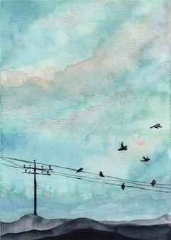 Céu azul e fundo aquarela de pássaro