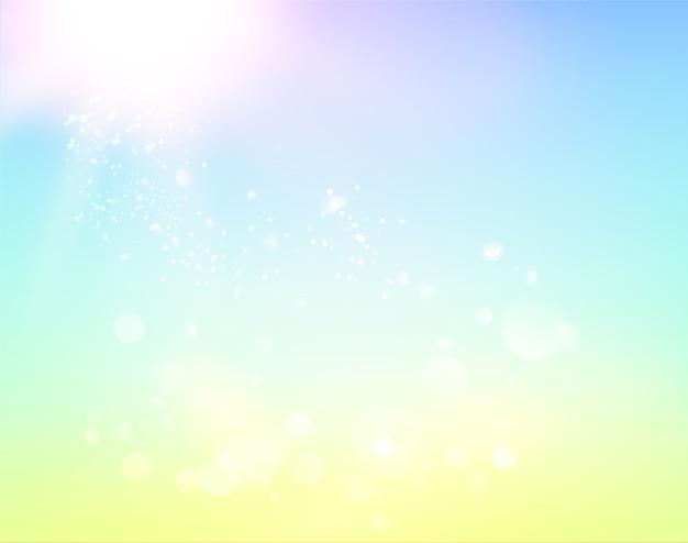 Céu azul e luz de fundo abstrata.