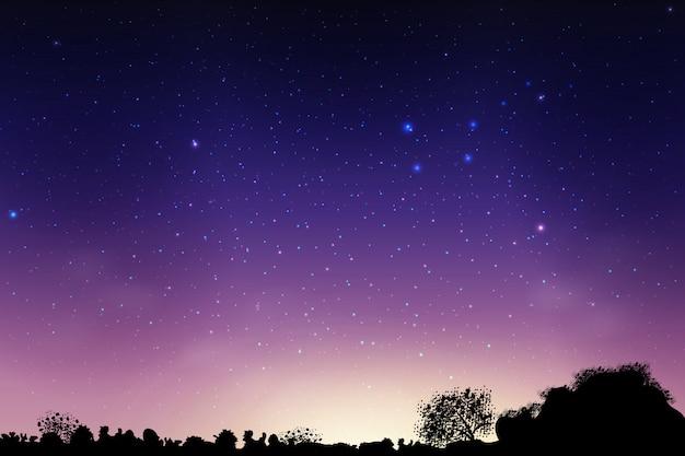 Céu azul escuro à noite no campo