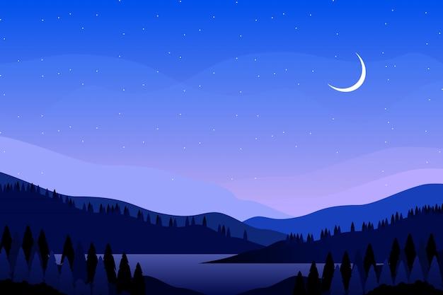 Céu azul noite com ilustração de paisagem de montanha