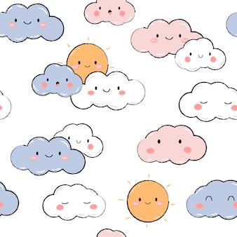 Céu bonito nuvem sol pastel dos desenhos animados doodle padrão sem emenda