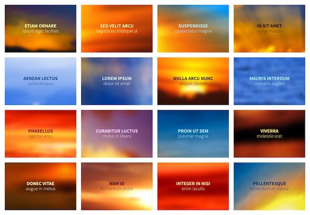 Céu brilhante turva e mar bokeh paisagem vector backgrounds coleção