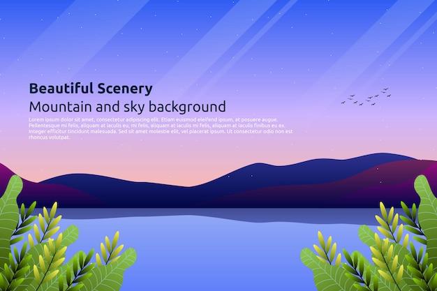 Céu colorido do sol com fundo de montanha