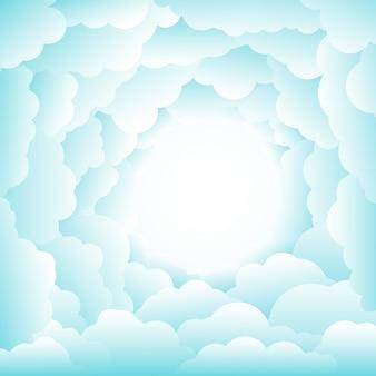 Céu com nuvens circulares em um dia ensolarado.