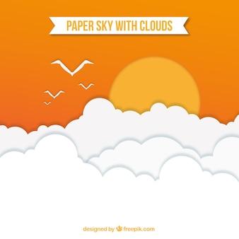 Céu, com, nuvens, com, sol, fundo, em, papel, textura