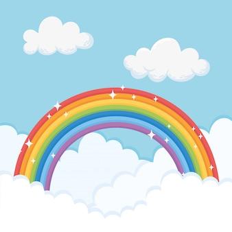 Céu com nuvens e arco-íris brilhante