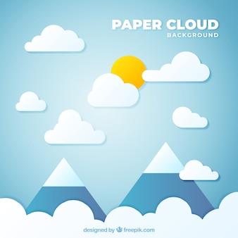 Céu, com, nuvens, e, montanhas, fundo, em, papel, textura