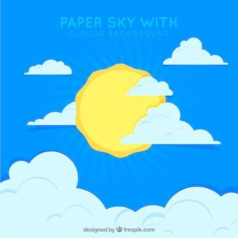 Céu, com, nuvens, e, sol, fundo, em, papel, textura Vetor grátis