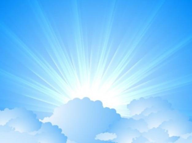 Céu com nuvens e sunburst