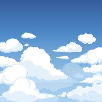 Céu com nuvens fofas. panorama azul limpo de ilustração de desenho animado nublado cloudscape