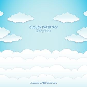 Céu, com, nuvens, fundo, em, papel, textura