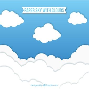 Céu, com, nuvens, fundo, em, papel, textura Vetor grátis
