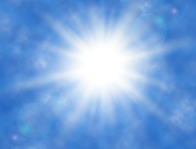 Céu com nuvens, sol brilhando, raios de sol. fundo ensolarado verão .