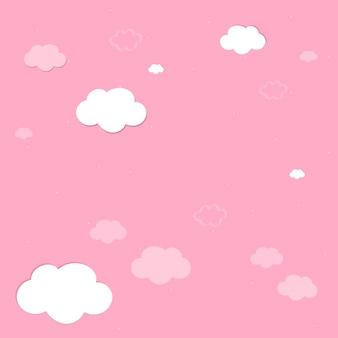 Céu cor-de-rosa com vetor de papel de parede de nuvens