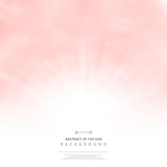Céu cor-de-rosa desobstruído com fundo do teste padrão das nuvens e explosão do sol.